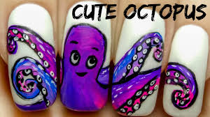 cute octopus freehand nail art tutorial youtube