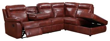 hariston leather reclining sectional with storage chaise dark