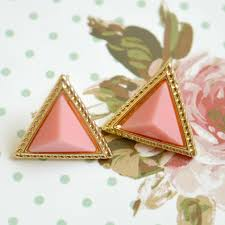 triangle stud earrings pink and gold triangle stud earrings raspberrykiss