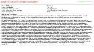 foreign service officer cover letter