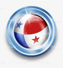 Paraguayan Flag Panama Silver Button With Panamanian Flag Isolated On White Stock