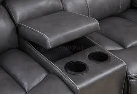 Motion Leather Sofa Motion Sofa In Grey Black By Global W Options