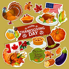 thanksgiving celebration stickers set isolated decoration
