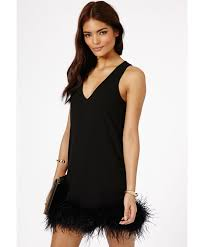 missguided claral prom dress with feathered hem detail in black in