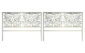White Wrought Iron King Size Headboards by Pair Of Twin White Wrought Iron Rose Floral Headboards Nueve