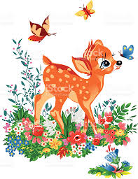 baby deer in the forest between flowers and butterflies stock