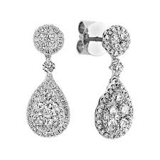 teardrop diamond earrings teardrop diamond cluster dangle earrings shane co