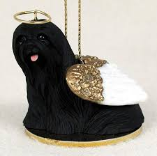 lhasa apso figurine statue painted black