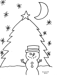 snowman with christmas tree free coloring page