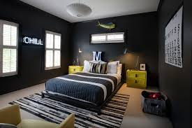 room with black walls black platform bed contemporary boy s room sally wheat interiors