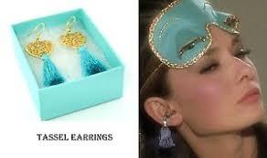 hepburn earrings golightly hepburn style teal heart tassel earring