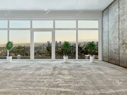 Floor To Ceiling Window Empty Living Room Interior With Panoramic View Through A Floor