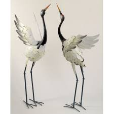 amazon com bits and pieces red crowned cranes metal garden