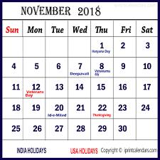 2018 november calendar with holidays templates tools