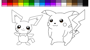 learn colors for kids and color pokemon pikachu and pichu coloring