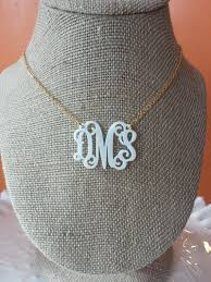 acrylic monogram necklace items similar to white acrylic monogram necklace 1 5 on etsy