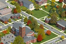 Michigan Campus Map by Photo Realistic Map Artwork Albion College