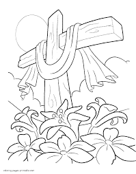 easter lilies and cross coloring page