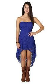 strapless high low lace dress with open bow back high low