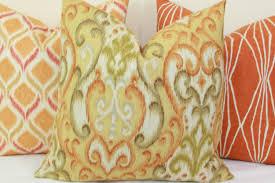 orange green yellow ikat decorative throw pillow cover 18 x 18