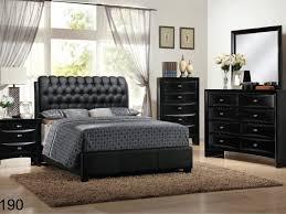 bed frame modern leather headboard black queen size bed frame