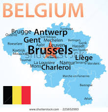 belgium city map belgium map largest cities carefully scaled stock vector 225652993