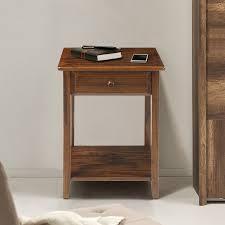 nightstand l with usb port night owl night stand with usb port warm brown walmart com