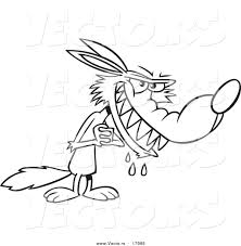 vector of a cartoon big bad wolf drooling coloring page outline