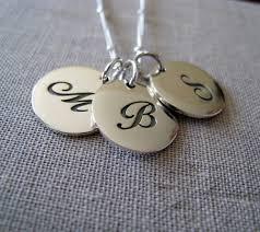 Three Initial Monogram Necklace Monogram Necklace Personalized Jewelry Three Childrens