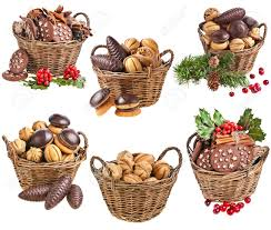 collection of basket christmas cookies with forest berries on