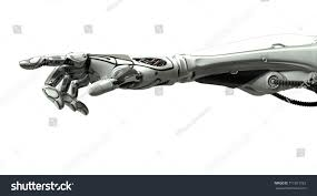 futuristic design robotic mechanical arm pointing stock