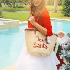 Dear Santa Woven Christmas Beach Tote Bag  Honeymoon Hats