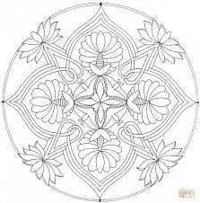 mandala with floral ornament coloring page free printable