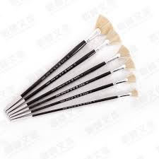 fan brush oil painting 6pcs set high quality bristle fan brush set oil painting brush pen