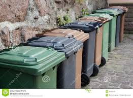 Backyard Garbage Cans by Trash Cans In A Row Stock Image Image 33768741