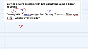 aleks solving a word problem with two unknowns using a linear equation