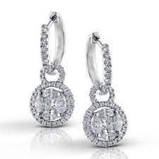 drop diamond earrings simon g 18 karat white gold halo drop diamond earrings