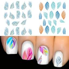 feather nail water decals transfer nail art stickers beautybigbang