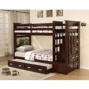 acme furniture allentown twin over twin wood bunk bed white