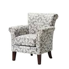 Grey And White Accent Chairs Accent Chair Black Damask With Nailhead Trim