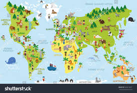 Map In Spanish Funny Cartoon World Map Children Different Stock Vector 593619971