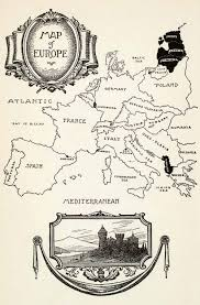 Spain France Map by 1932 Wood Engraving Map Europe Spain France Germany Poland Italy
