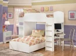 White Wood Loft Bed With Desk Foter - Girls white bunk beds