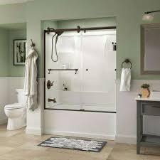 clear semi frameless bronze bathtub doors shower doors