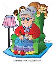 Clipart Armchair Clip Art Of Cartoon Grandma Sitting In Armchair K5256516 Search