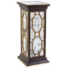 Black Pedestal Table Cadence Traditional Hollywood Black Silver Leaf Mirror Pedestal