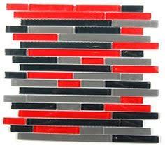 Red Tile Backsplash - glass mosaic tile backsplash red black 1x1 mesh mounted on a 12x12