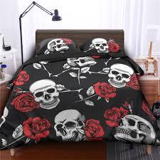 Roses Duvet Cover Skulls U0026 Roses Duvet Cover Set Black Skullistic