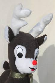 rudolph red nosed reindeer stuffed plush deer toy large standing