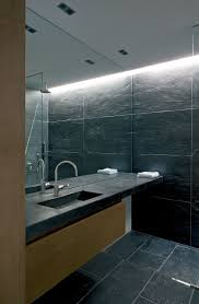 Bathroom Floor To Roof Charcoal by Bathroom Mirror Ideas Fill The Whole Wall Stone Tiles